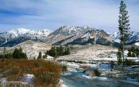 Обои Природа, пейзаж, горы, река