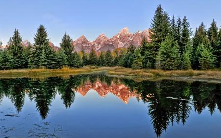 Заставки озеро, горы, ель, лес