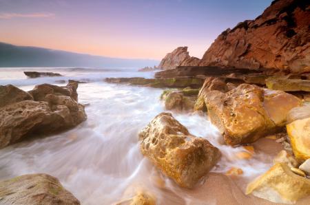 Заставки Закат, вечер, пляж, берег