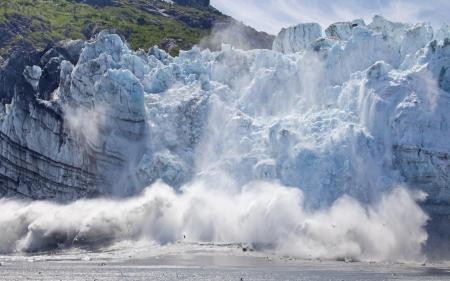 Картинки природа, ледник, обвал, аляска