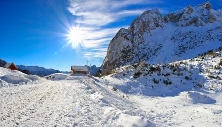 Фото зима, Словения, небо, дорога