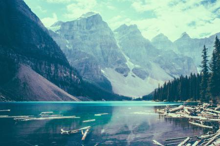 Заставки Горы, озеро, деревья