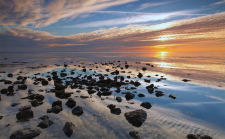 Обои море, вода, камни, закат