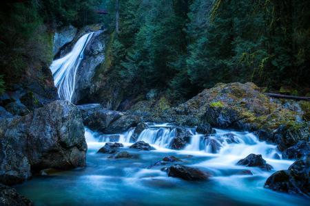 Картинки Waterfall, сша, лес, камни