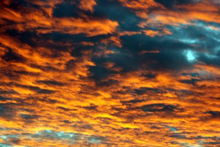 Обои закат, небо, облака, оранжевый