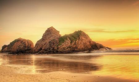 Картинки пляж, океан, рассвет, скалы