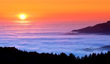 Картинки вечер, море, горы, туман