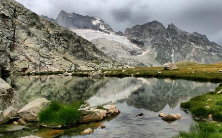 Фотографии небо, облака, горы, озеро
