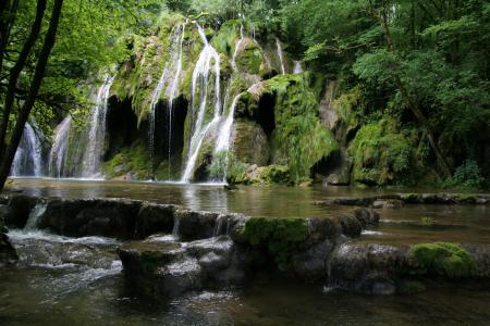 Обои водопад, Франция, камни, Franche-Comte