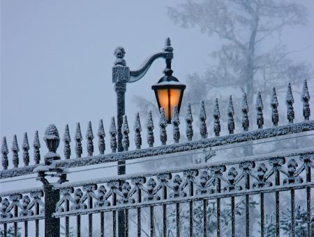 Обои природа, зима, снег, фонарь