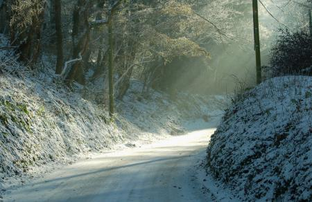 Обои природа, зима, дорога, поворот