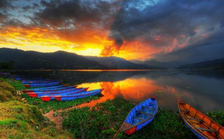 Фото природы, озеро, Пейзажи, лодки