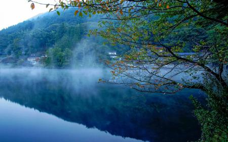 Заставки Природа, река, туман, лес
