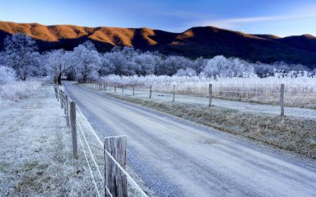 Фотографии Зима, иней, небо, горы