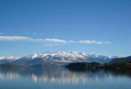 Фото озеро, горы, холмы, снег