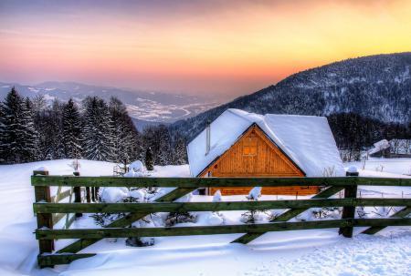 Обои snow, architecture, house, hut