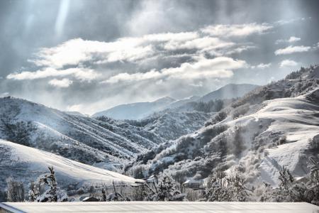 Фото горы, зима, дома, горнолыжнаябаза