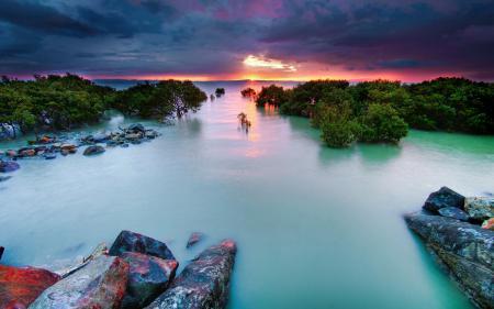 Обои закат, море, прилив, камни