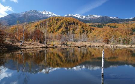 Заставки озеро, горы, холмы, деревья