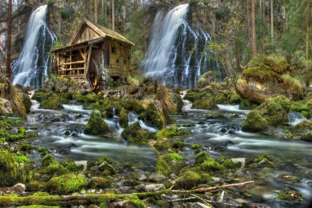Фото водопад, камни, пейзаж, мох