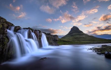 Заставки водопад, гора, река, пейзаж