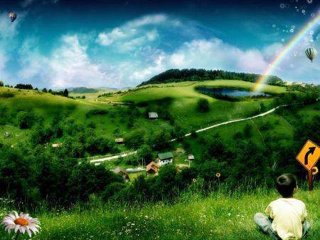 Картинки воздушный шар, зеленая лужайка, мальчик, трава