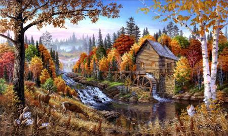 Фото желтые листья, осенний лес, художник, Mark Daehlin