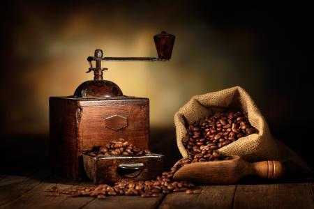 Картинки мешок, кофейные зерна, лопатка, кофемолка