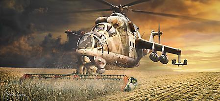 Картинки вертолет комбайн, прикол, арт, косит траву