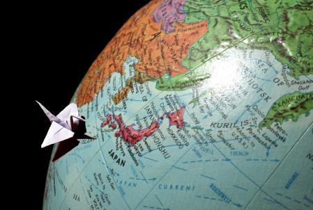 Обои глобус, оригами, страна, карта