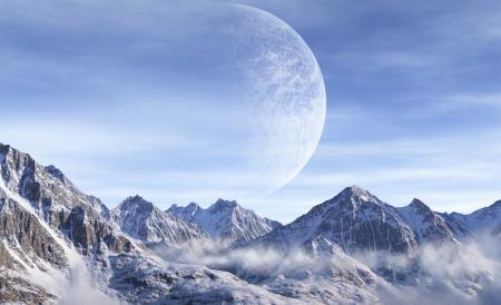 Обои планета, горы, снег, вершины