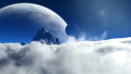 Картинки планеты, звёзды, гора, облака