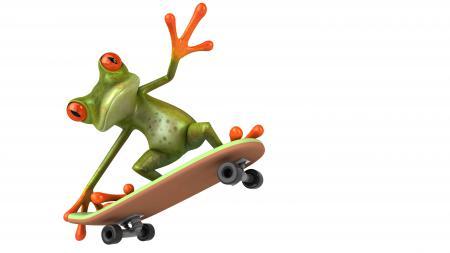 Заставки Free frog 3d, лягушка, графика, мопед