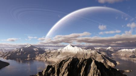 Заставки горы, озеро, облака, планета