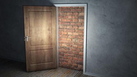 Обои дверь, стена, вход, свет