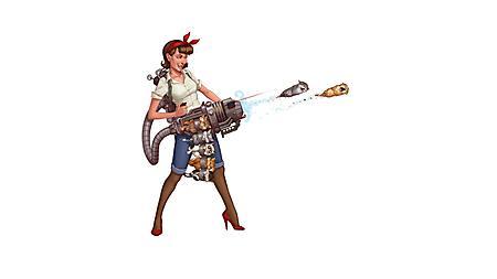 Обои девушка с оружием патронташ с