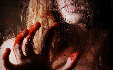 Фотографии девушка, стекло, капли, кровь