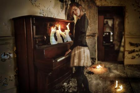 Фотографии девушка, пианино, ноты
