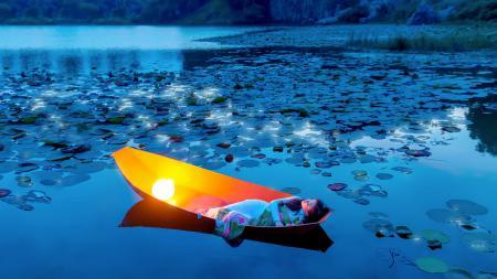 Фотографии девушка, лодка, озеро