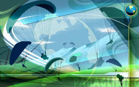 Фотографии Paragliding, парашют, силуэт, полет