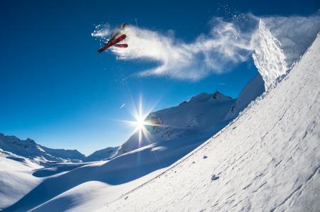 Заставки лыжи, экстрим, прыжок, солнце