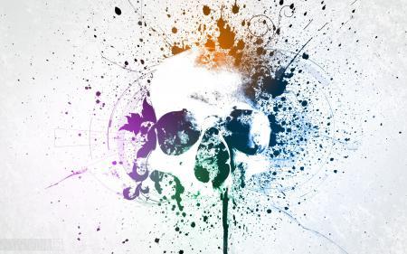 Заставки минимализм, череп, пятна, цвета