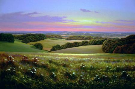 Картинки Terry Grundy, Country Sunset, English landscapes, живопись