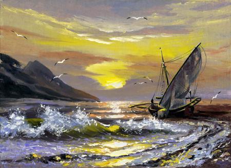 Рисунки живопись, корабль, море, волны