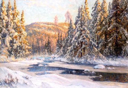 Рисунки картина, пейзаж, Anshelm Schultzberg, зима