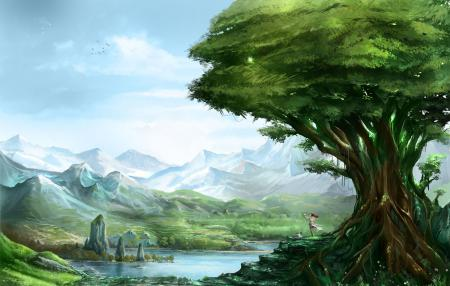 Обои арт, пейзаж, дерево, озеро