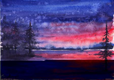 Рисунки нарисованный пейзаж, акварель, вечер, закат