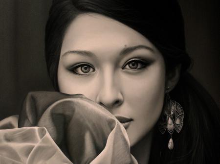 Рисунки Christiane Vleugels, портрет, девушка, азиатка