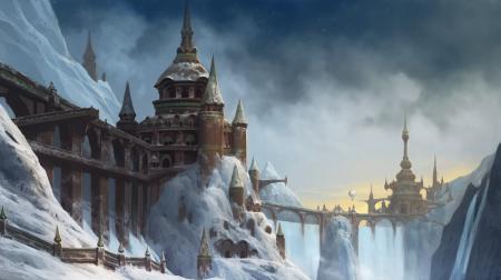 Рисунки арт, город, горы, снег