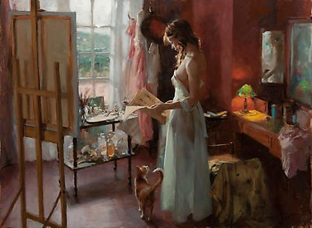 Рисунки художник Vicente Romero, девушка читает газету, мольберт, рыжий кот